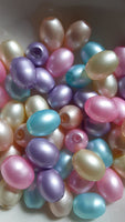 50 pc Mixed Pastel Glitterized Oval Glass Beads
