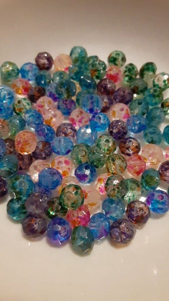 100 pc Mixed Paint Speckled Abacus Glass Beads