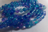 1 Strand Blue/Lilac Mottled Glass Beads 6mm