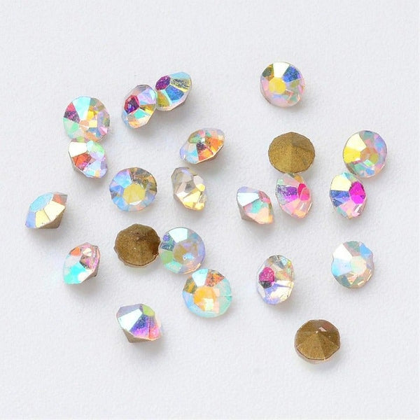 500 pc AB Color Glass Rhinestone Cabochons