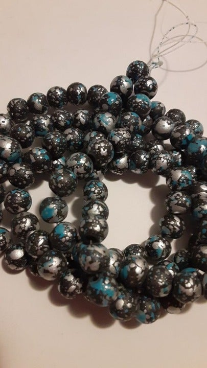 1 Strand Blue Gray Paint Splashed Beads 8mm