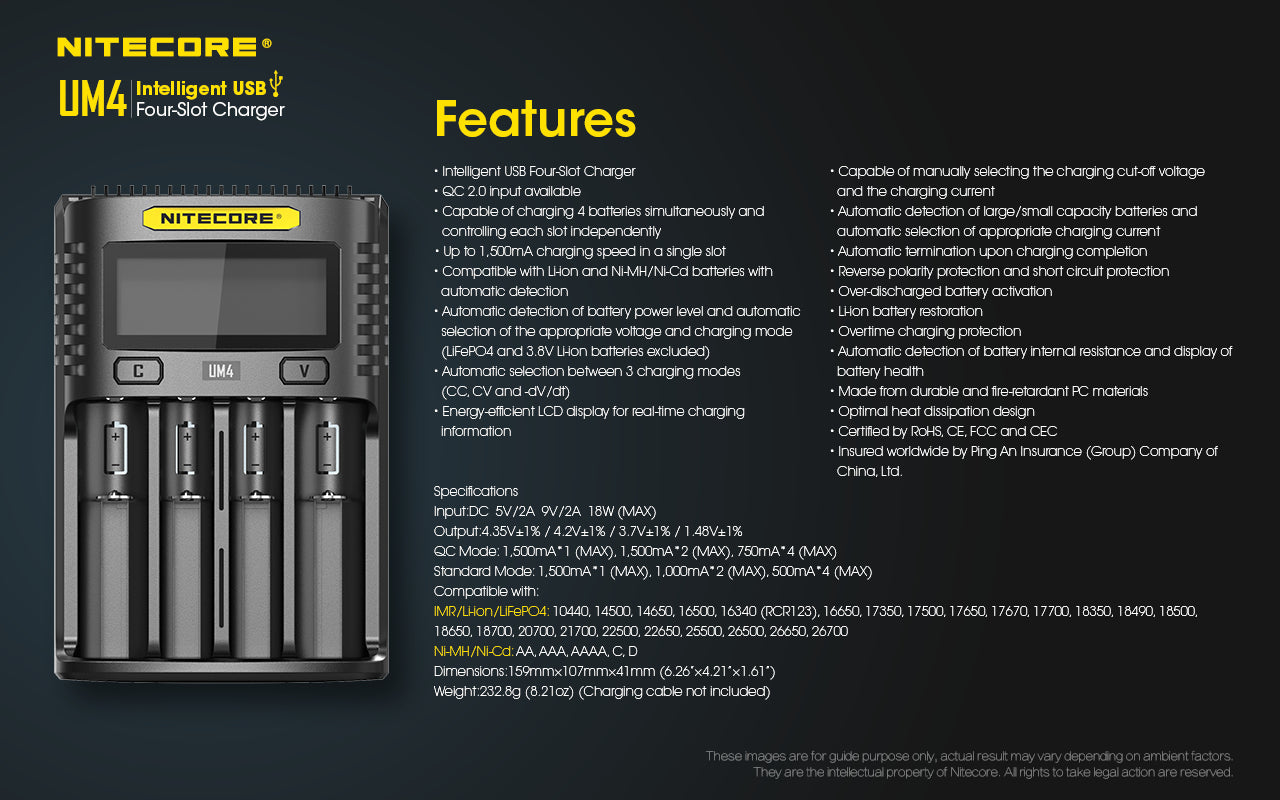 Nitecore UM4 Battery Charger