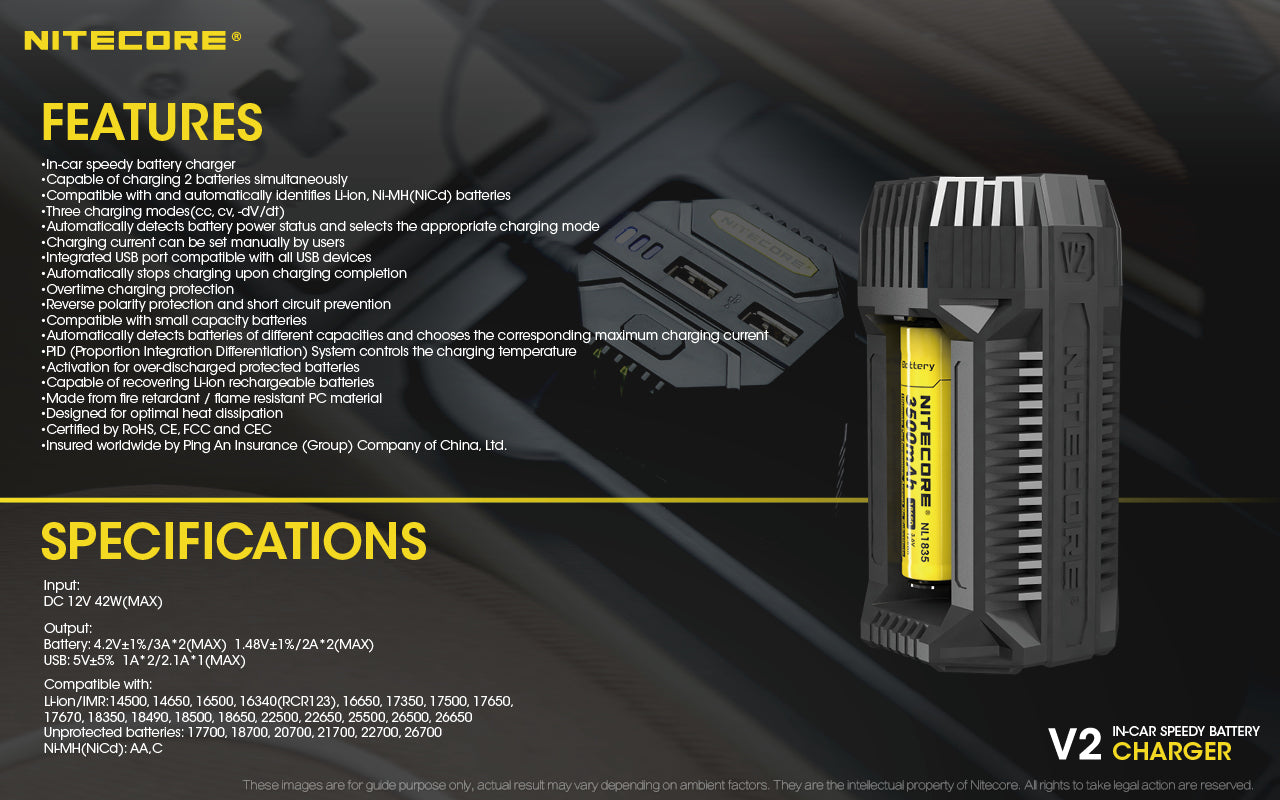 Nitecore V2 Speedy In Car Battery Charger