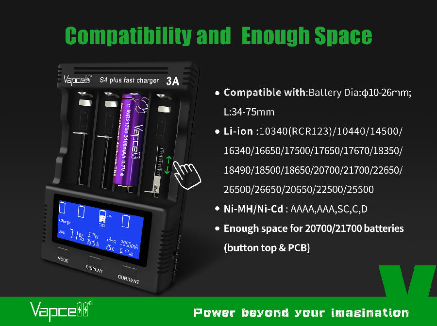 Vapcell S4 Plus Battery Charger