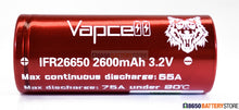 Load image into Gallery viewer, Vapcell LiFePO4 26650 2600mAh 55A Battery