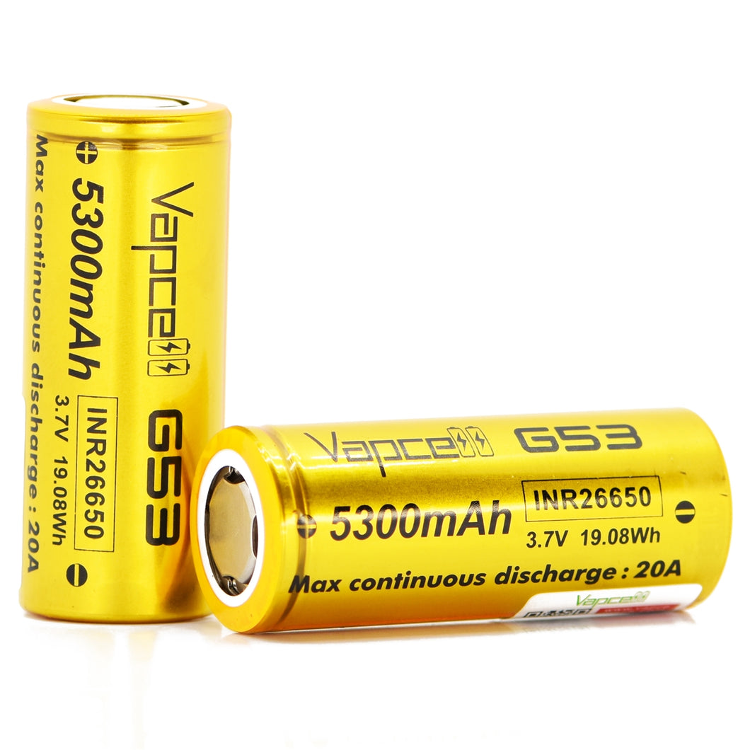Vapcell 26650 5300mAh 20A G53 Battery (Gold)