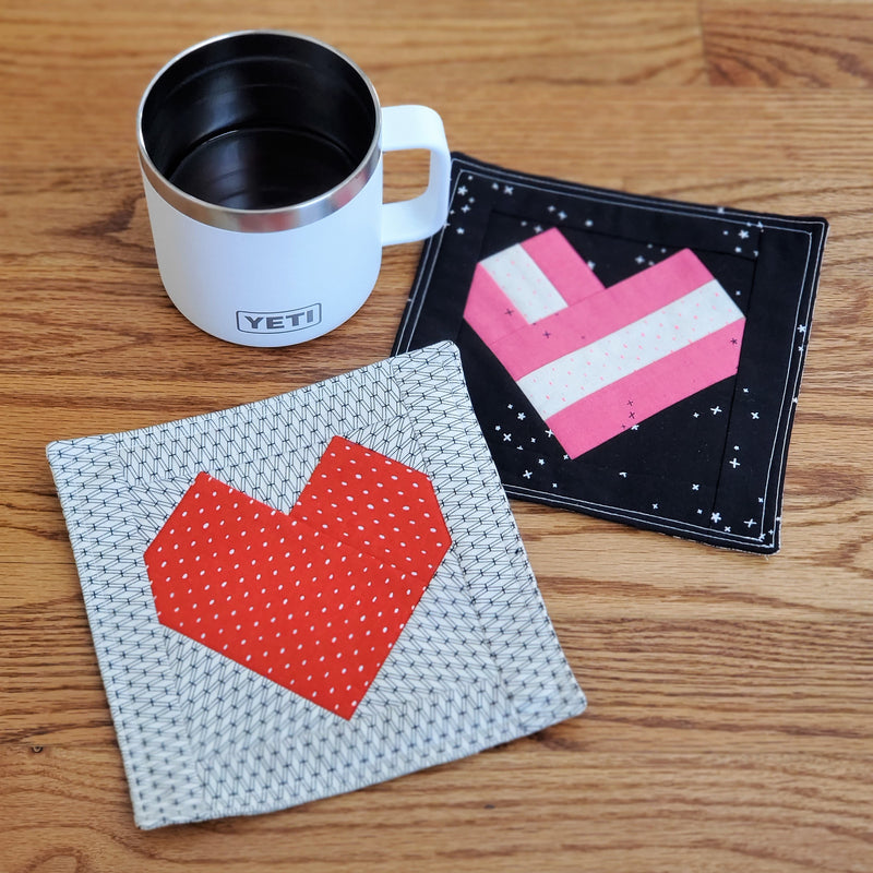 Valentine Mug Rug Pattern from Little Fabric Shop
