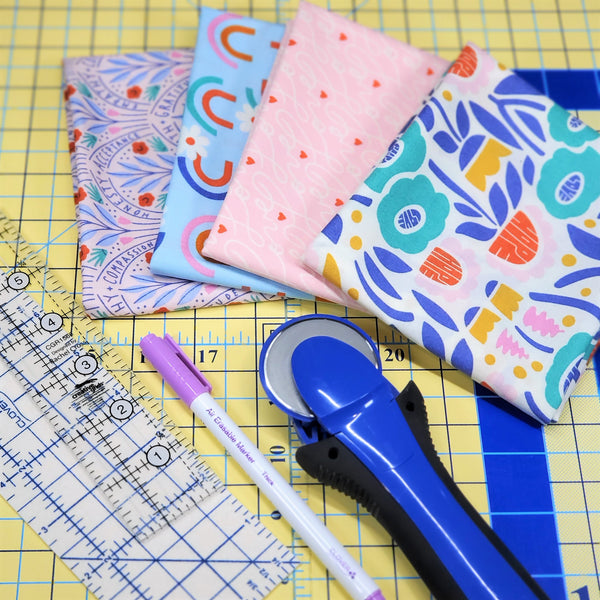 Materials Needed for Little Fabric Shop Fat Quarter Earth Day Cloth Napkin Tutorial