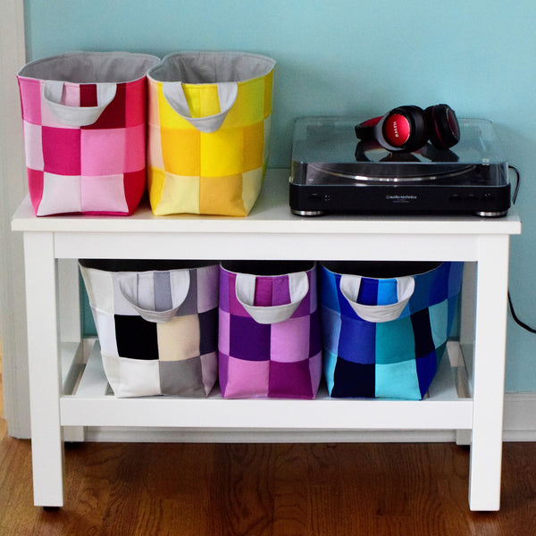 So many organization options with these scrappy fabric baskets with handles.