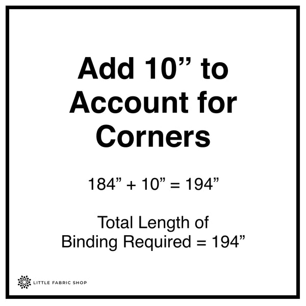 Adding Binding to Account for Corners of Quilt Diagram | Little Fabric Shop