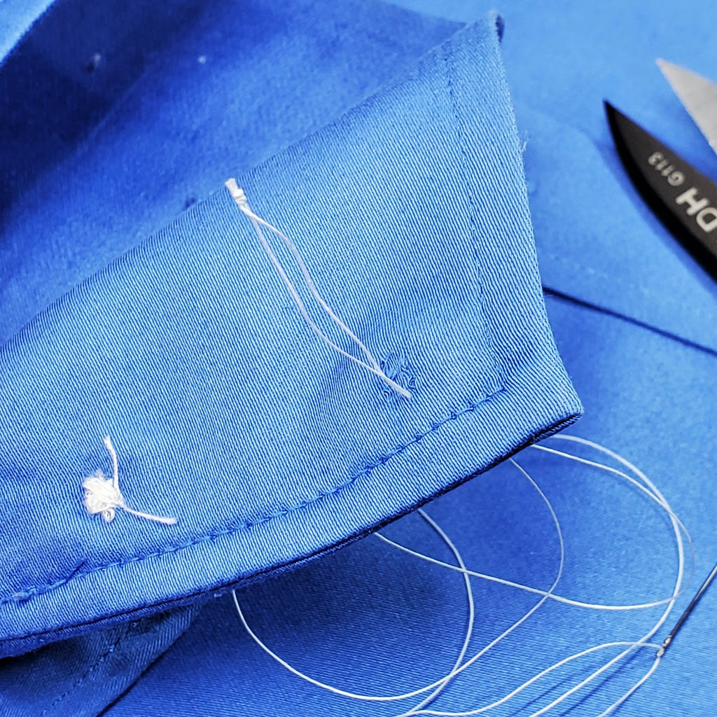 First Stitch when sewing on a button
