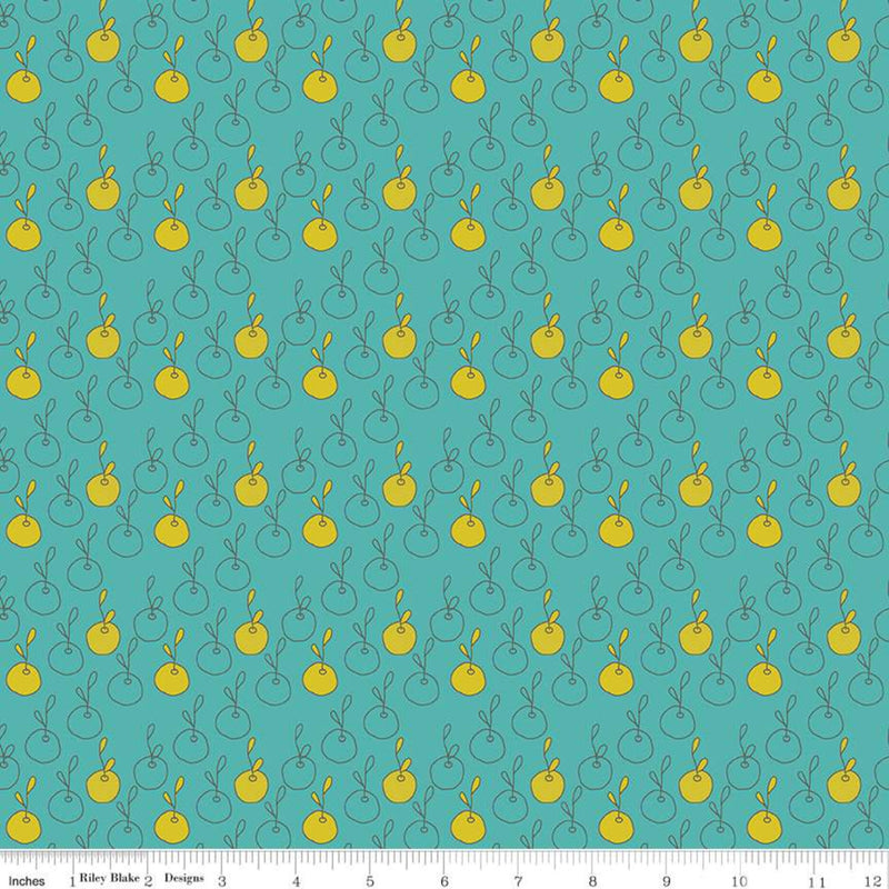 On the Bright Side - Apples Teal | Riley Blake Designs