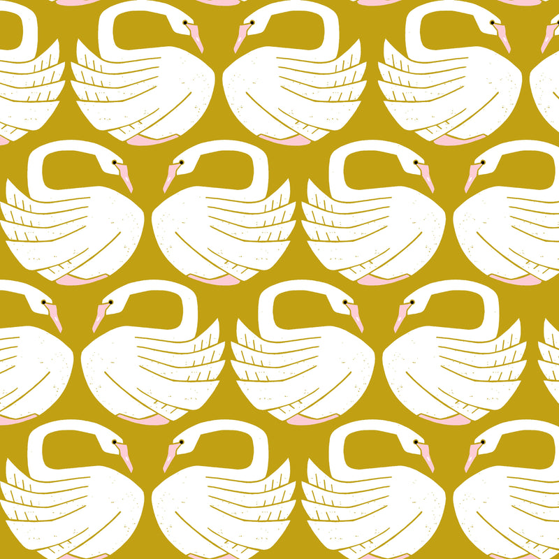 Loving Swans - Sundance Canvas Fabric | On A Spring Day | Cotton + Steel Fabrics