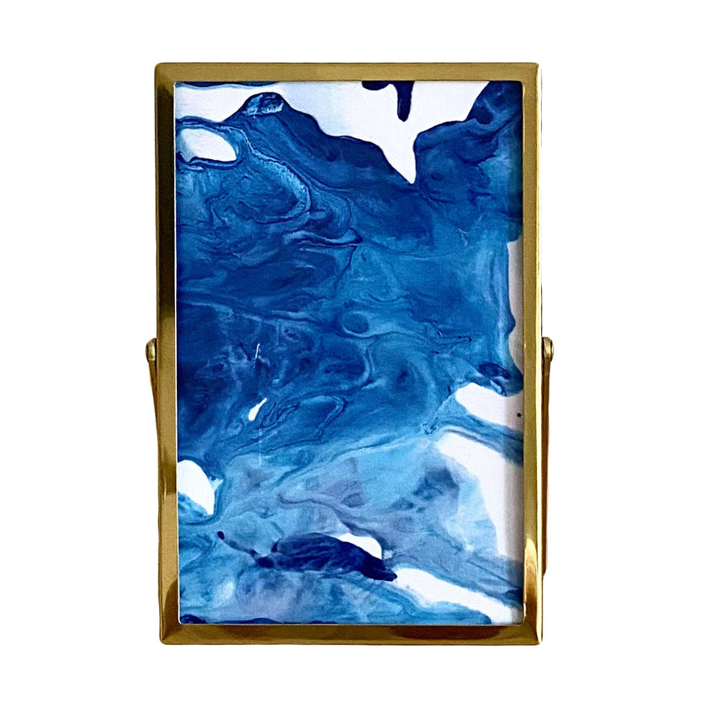 Free standing gold frame marble art