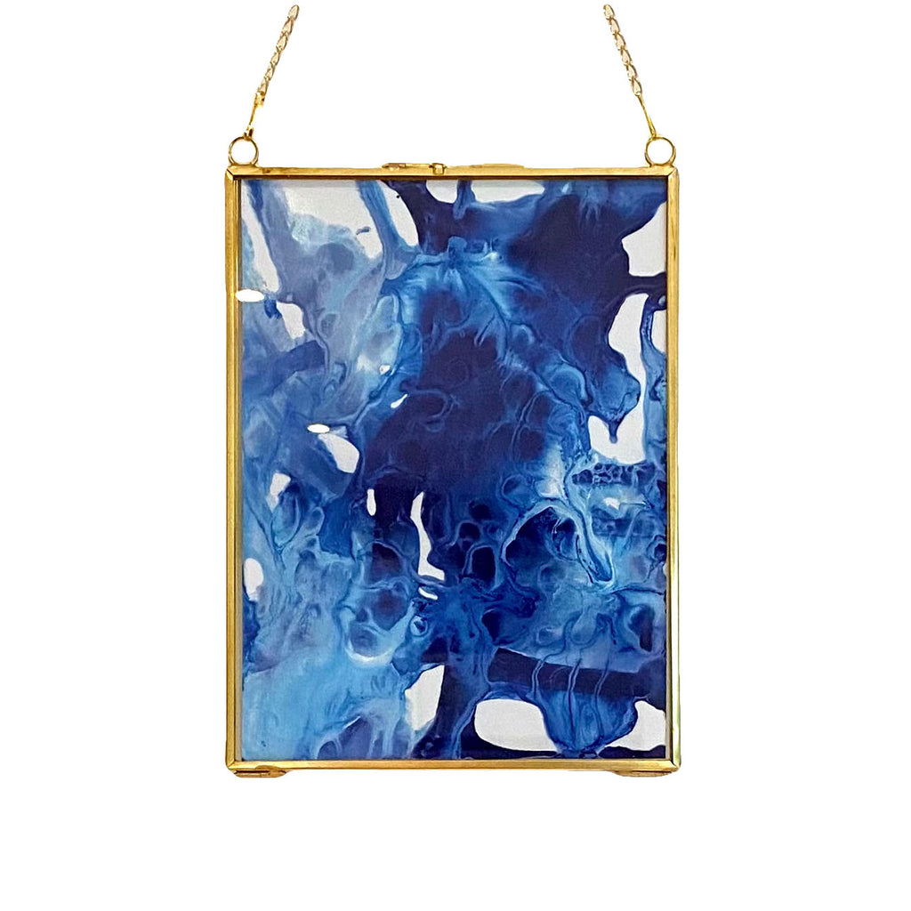 Brass hanging frame marble art