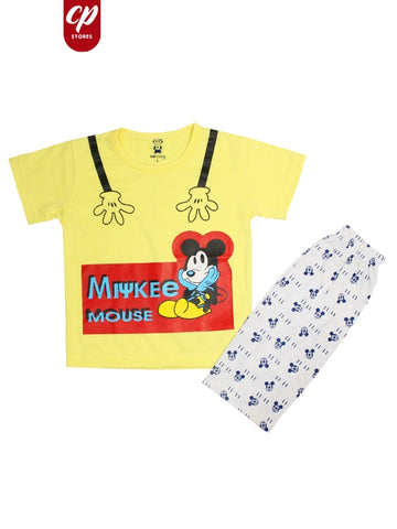 Cut Price Kids Suit Printed Micky Mouse Yellow