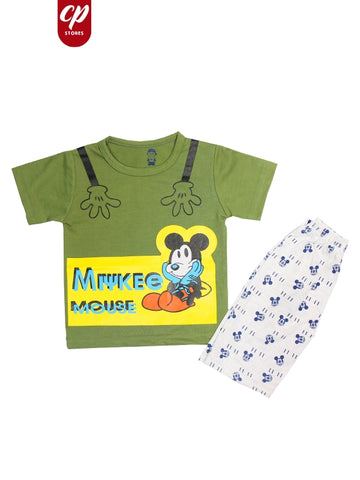 Cut Price Kids Suit Printed Micky Mouse Green