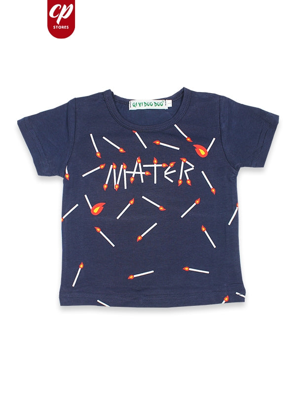 Cut Price Kids T-Shirt Matchstick Print Dark Blue