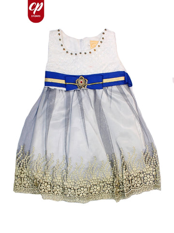 Cut Price Sleeveless Frock for Girls White Blue Batch Bow Belt