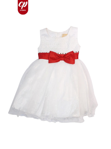 Cut Price Sleeveless Frock for Girls White Embroidery Red Bow Belt
