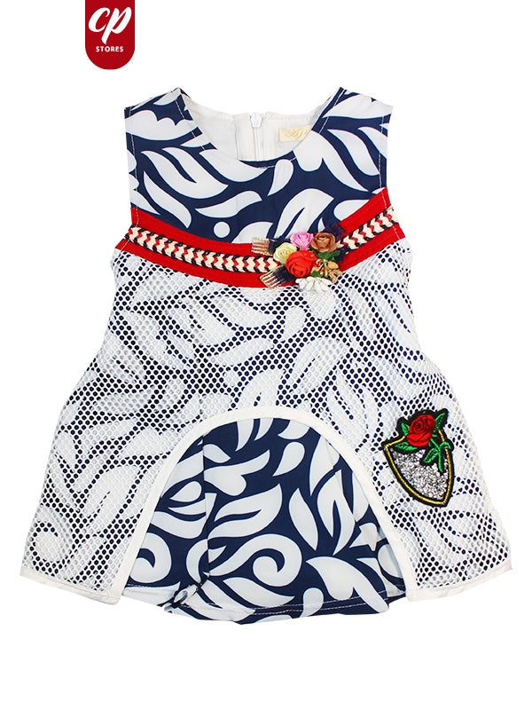 Cut Price Elegant Girls Frock Navy Blue