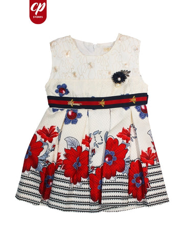 Cut Price Elegant Frock for Girls Blue & Red