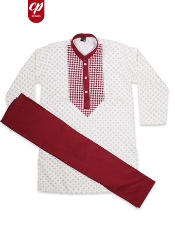 Cut Price Boys Kameez Pajama Suit Sherwani Collar Printed Burgundy White