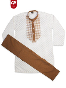 Cut Price Boys Kameez Pajama Suit Sherwani Collar Printed Camel White