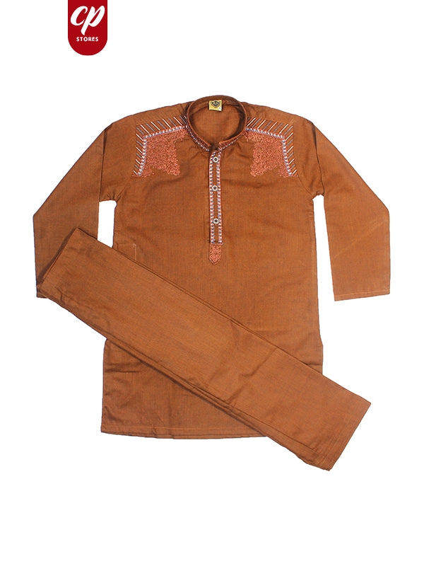 Cut Price Boys Shalwar Kameez Sherwani Collar Brown
