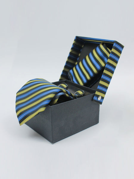 Tie Gift Box Set 3 Pcs Tie Cuff-Link Pocket Square Blue Gold Stripes