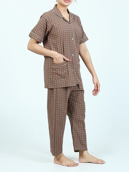 Girls 2 Pcs 100% Cotton Night Suit for Women Printed Brass Brown