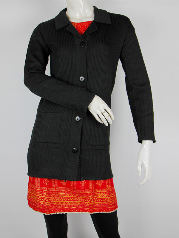 Women Sweaters Cardigan Full Sleeves Onyx Black
