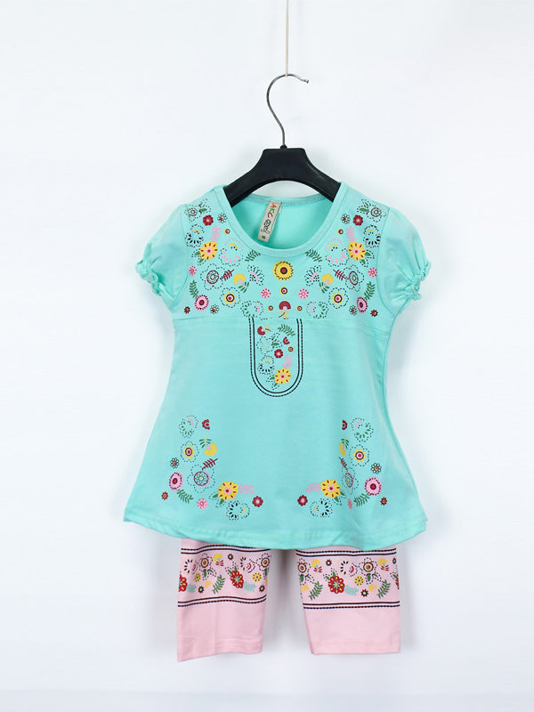 AKC Baby Suit 1 Yr - 4 Yr Printed Flower Sea Green