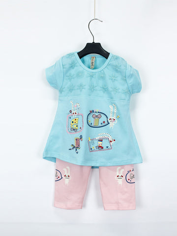 AKC Baby Suit 1 Yr - 4 Yr Printed Happy Sea Blue