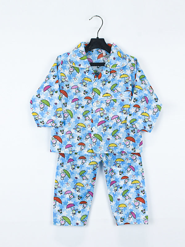 Cotton Night Suits 2 YR - 6 YR UM Light Blue