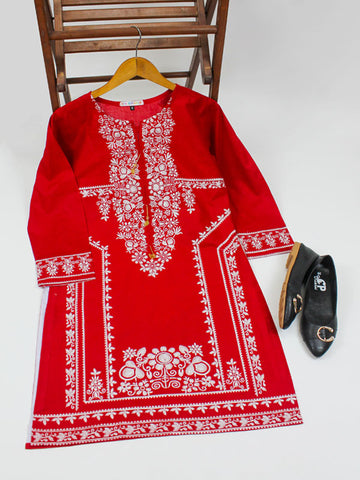 Cotton Kurti for Women Spring Embroidery Red