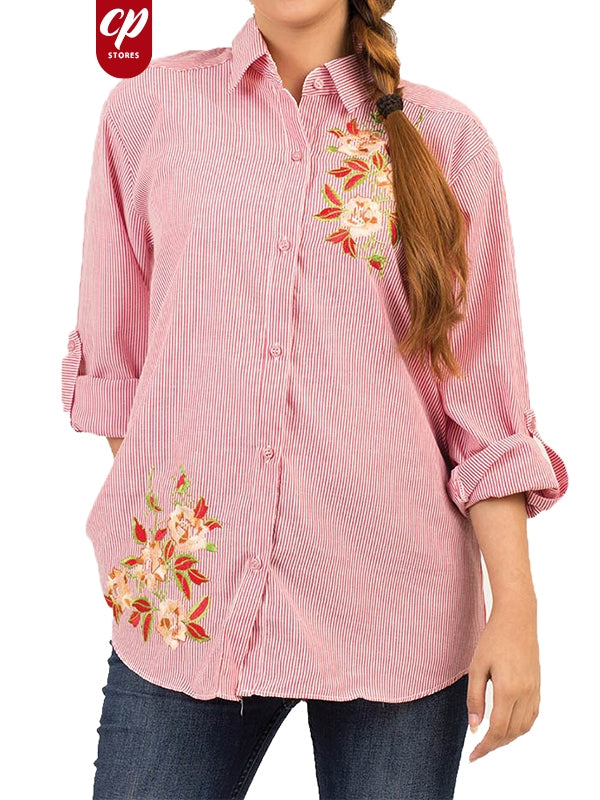 Cut Price Ladies Shirt Casual Formal Lines Flower Red