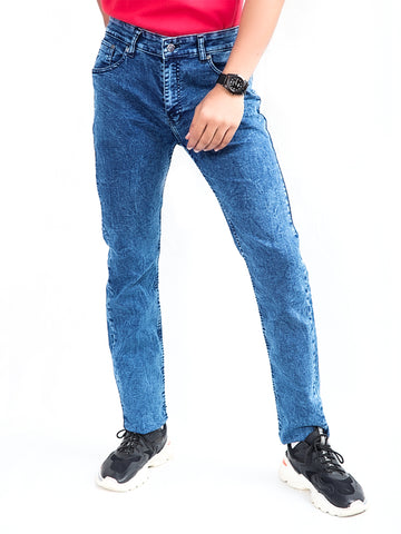 Cut Price Power Process Strechable Jeans for Men Dark Blue