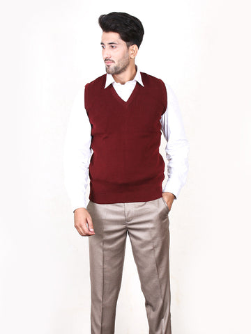 G.M Sleeveless Plain Sweater for Men Maroon