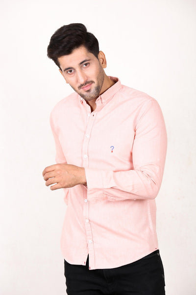 Chambray Casual Shirt For Men Coral Pink