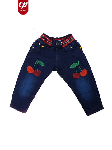 2.5 Yrs - 12 Yrs Stretchable Baby Jeans Cherry Denim Blue