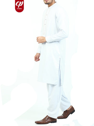 5887 Cut Price Shalwar Kameez Suit Stitched for Men Sherwani Royal Embroidery Soft White