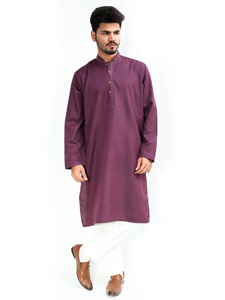 Cut Price Kurta for Men Stitched Spring Red Purple
