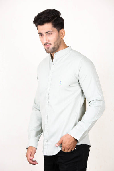 Chambray Casual Shirt For Men Mandarin Collar Light Green