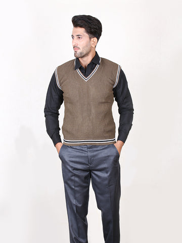 EU Sleeveless Plain Sweater for Men Brown