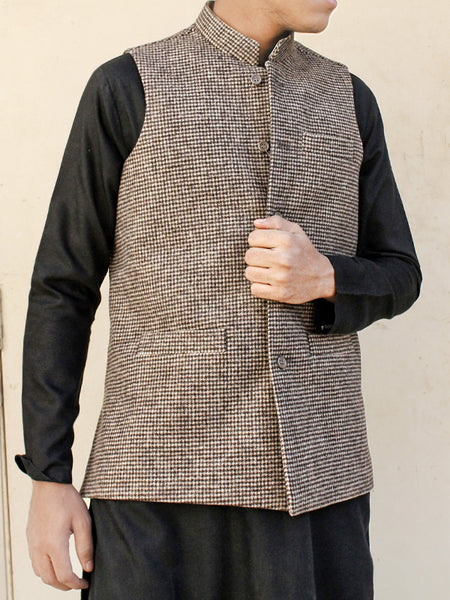 Tweed Waistcoat for Men Brown Checks