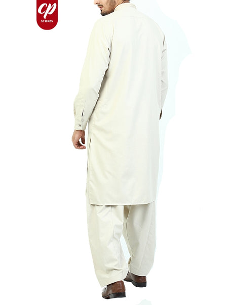 5887 Cut Price Shalwar Kameez Suit Stitched for Men Sherwani Royal Embroidery Manilla Cream