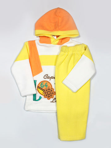 Hooded Kids Fleece Suit 1Yr to 4Yr Captains Yellow