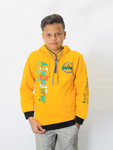 ATT Boys Jumper Hoodie T-Shirt 3Yrs - 10Yrs Printed Advanturer Dull Yellow