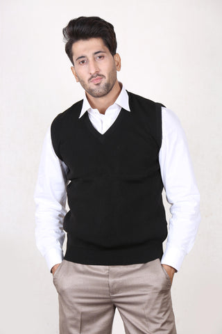 G.M Sleeveless Plain Sweater for Men D Black